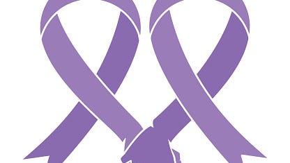 Cancer lavender heart ribbons