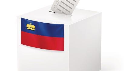 Ballot box with voting paper. Liechtenstein