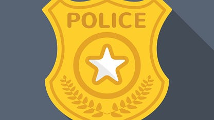 Police badge long shadow vector flat icon