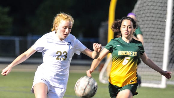 Sarah Lewis (23) was one of two goal-scorers for Roberson on Wednesday night in Skyland.