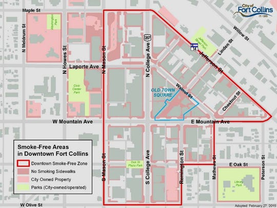 The downtown Fort Collins smoke-free zone went into effect Jan. 1, 2016.