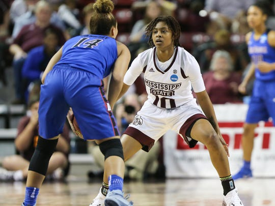 Mississippi State's Jazzmun Holmes (10) defends DePaul's Jessica January (14). Mississippi State played DePaul University in a second-round NCAA women's basketball tournament game on Sunday, March 19, 2017. Photo by Keith Warren