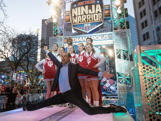 """American Ninja Warrior"" co-host Matt Iseman practiced his moves with the Indiana University cheerleaders, who watched the filming of the show in Downtown Indianapolis on Sunday night."