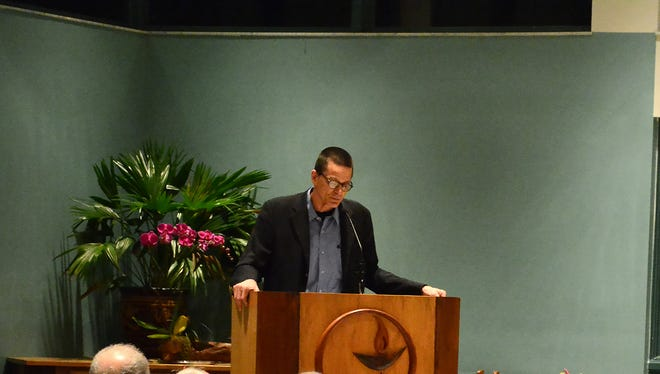 "Robert Jensen of the Univ. of Texas spoke Feb. 8 at the Unitarian Universalist Congregation of Naples, part of the ""Progressive Voices Speak Out"" lecture series."