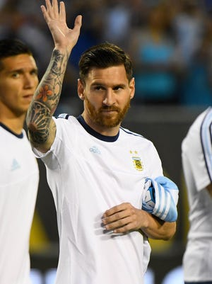 Argentina midfielder Lionel Messi (10) before the first half against Panama during the group play stage of the 2016 Copa America Centenario at Soldier Field.