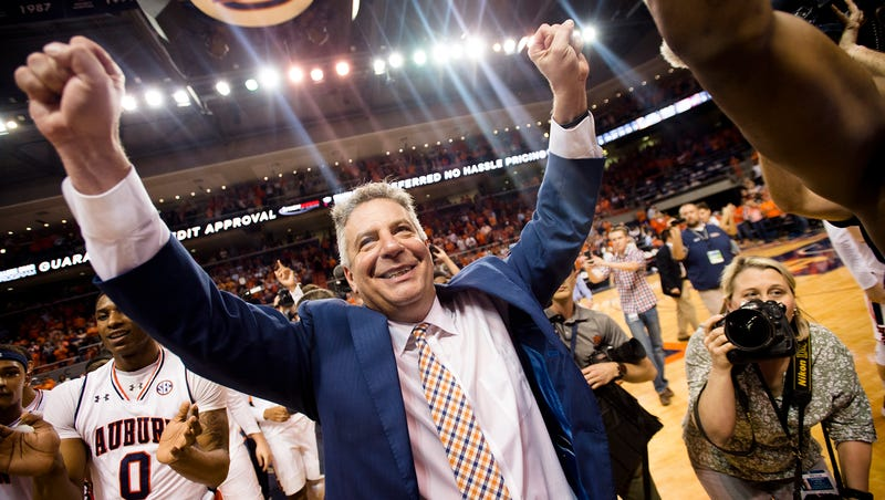 f22f9d6164f Auburn Tigers head coach Bruce Pearl celebrates after the NCAA basketball  game on Wednesday