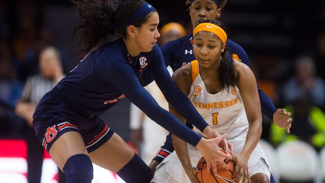 Tennessee guard Anastasia Hayes (1) struggles to maintain possession of the ball during a game against the Auburn Tiger at Thompson-Boling Arena in Knoxville, Tenn. Thursday, Jan. 4, 2018.