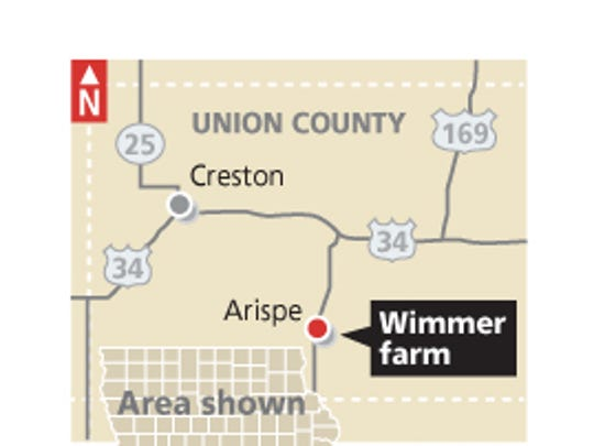 Denny Wimmer's 76-acre farm in Union County.