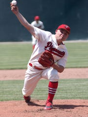 Plymouth's Trevn Lane pitches during the division IV