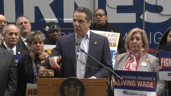 Gov. Andrew Cuomo started a bus tour Tuesday, Feb. 23, 2016, to press for a $15 minimum wage