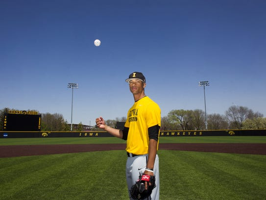 Iowa pitcher Blake Hickman poses for a photo at Duane