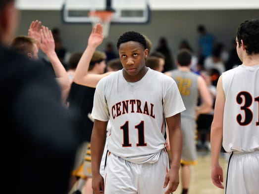 Central York's Onterio Edmonds looks up at the scoreboard