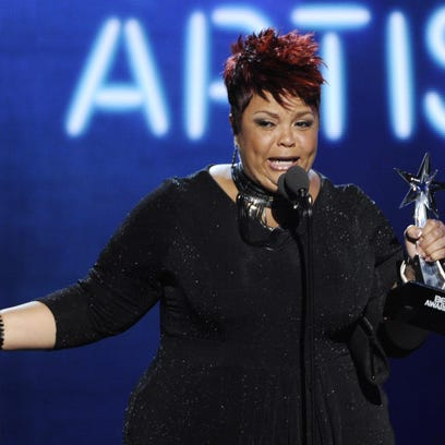 """Tamela Mann accepts the award for best gospel artist at the BET Awards in Los Angeles in 2014. Mann's fourth album, """"One Way"""" features the hit single """"God Provides."""""""