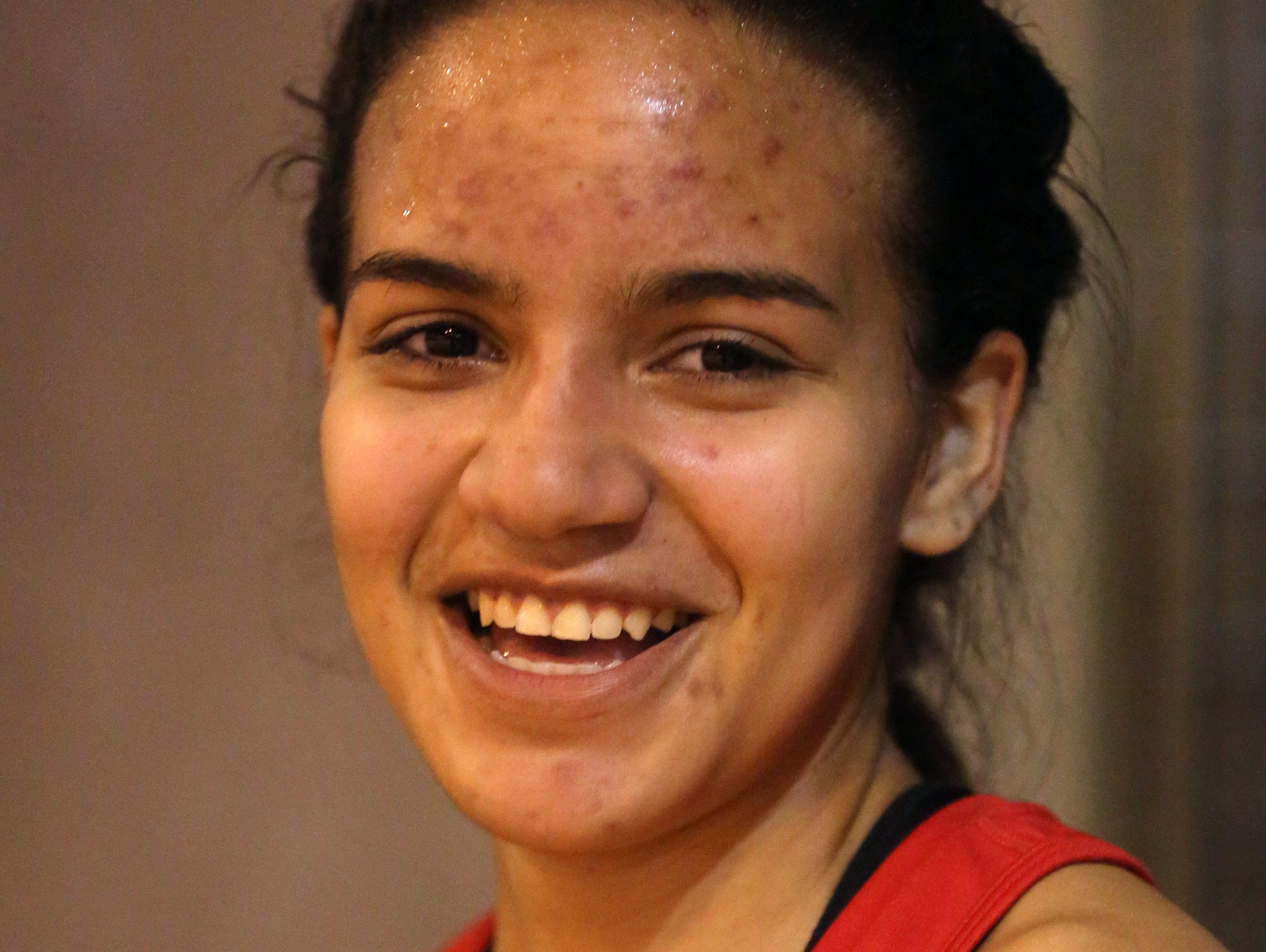 Maria Garcia from North Rockland High School, won the race walk during the Rockland Coaches Invitational indoor track meet, Jan. 6, 2016.