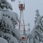 Mullen Beacon on Lookout Pass in winter
