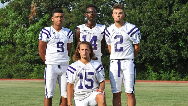 Rayne High's offensive backfield weapons this fall will include quarterback Donald Doucet (15), running back Trent Winbush (9), running back Johnny Deculit (14) and receiver/wingback Jaylon Reed (2).