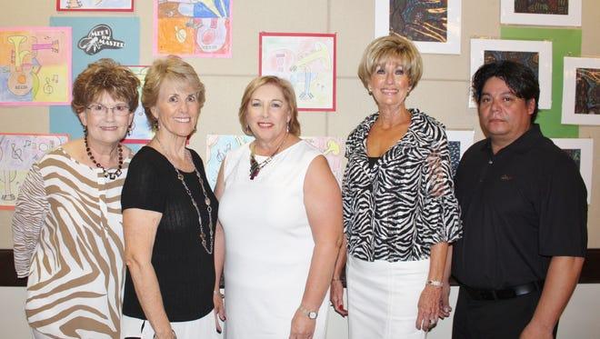 Left to right: Donna Biacsi, Linda Rishel, Mary Pat Anderson, Elaine Hansen and Gino Arras.