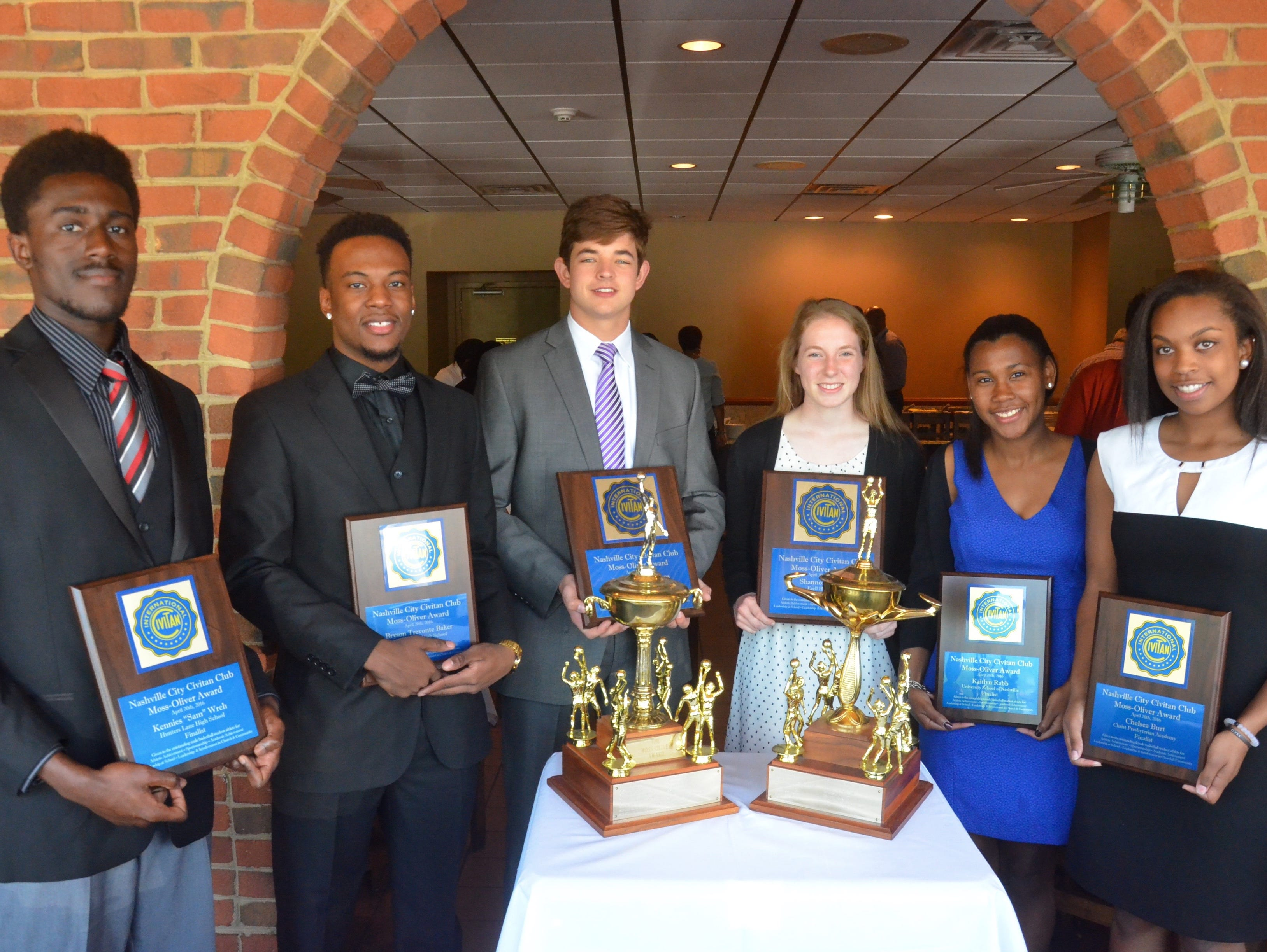 From lef, the 2016 Moss-Oliver Award finalists: Hunters Lane's Sam Wreh, Pearl-Cohn's Bryson Baker, Lipscomb's Clayton Pickens, Ezell-Harding's Shannon Beaty, USN's Kaitlyn Rabb and CPA's Chelsea Burt.