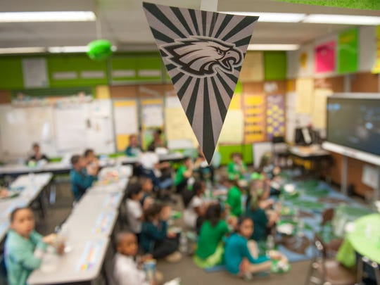 The Dr. WilliamMennies Elementary Schoolin Vineland held a Super Bowl Eagles pep rally on Friday.