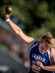 Graham's Hunter Dooley won the 4A shot put Friday afternoon with a throw of 54-2 1/4.