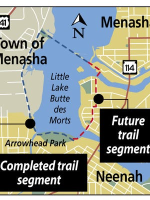 Neenah and Menasha plan to complete a 5K trail loop around the south half of Little Lake Butte des Morts.