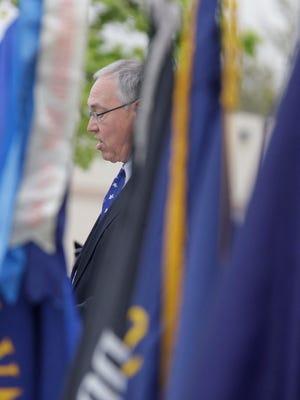 Mayor Mike Vandersteen speaks during the Memorial Day program at Fountain Park May 27, 2013, in Sheboygan.