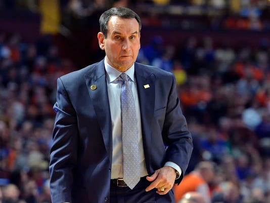 Duke coach Mike Krzyzewski reacts during the first half of the team's NCAA college basketball game against Clemson on Wednesday, Jan. 13, 2016, in Greenville, S.C. Clemson won 68-63.(AP Photo/Richard Shiro)