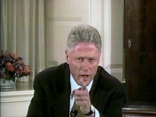 President Bill Clinton responds to a question on his truthfulness in the Paula Jones deposition during the second hour of his videotaped testimony on Aug. 17, 1998, at the White House.