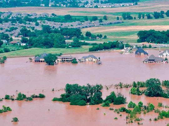 The Bossier Sheriff's Office took these aerial photos Monday around 3:30 p.m. These homes are in River Bluff.