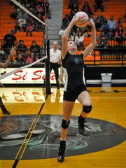 Oñate's Madison Jensen sets up a teammate during Tuesday's