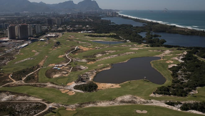 Aerial view of the Olympic Golf Course in Rio de Janeiro, Brazil, Monday, Aug. 1, 2016. The Summer Games start Aug. 5.