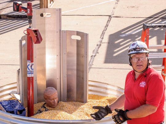 """Paul Newcomb, Illinois Fire Service Institute, discusses  """"Grain Bin Rescue"""" at the 2016 Farm Safety Academy at Grinnell Mutual Reinsurance. Newcomb discusses the use of rescue tubes and an auger in saving someone trapped in grain."""