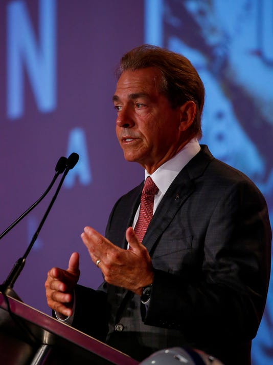 Alabama NCAA college football coach Nick Saban speaks during the Southeastern Conference's annual media gathering, Wednesday, July 12, 2017, in Hoover, Ala. (AP Photo/Butch Dill)