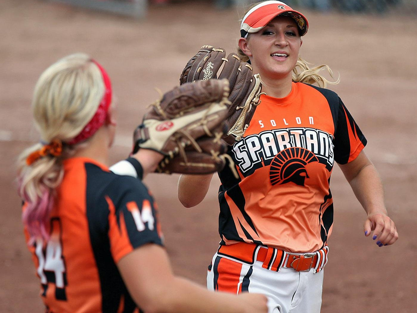 Solon senior Emily Ira (right) was a first-team selection in the WAMAC East Division as a pitcher. Ira is 25-2 on the year with a 0.50 ERA and 338 strikeouts, which ranks first in all of Class 3A, in 168 innings pitched.