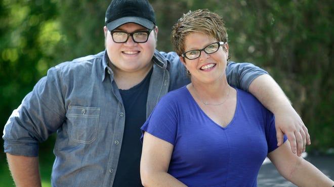 Molly Shumate, a veteran Cincinnati Archdiocese teacher, at home with her son, Zach.