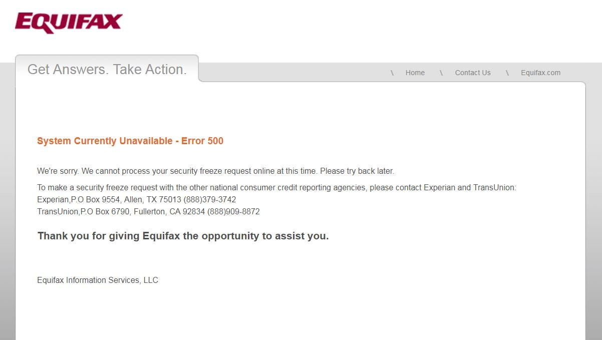 Equifax Data Breach I Tried To Freeze My Credit There Were Problems