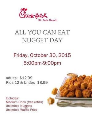 An all-you-can-eat nugget promotion for a St. Pete Beach Chick-fil-A went viral Tuesday.