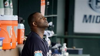 New York Yankees starting pitcher CC Sabathia sits in the dugout after working the first inning of an exhibition spring training baseball game against the Miami Marlins Tuesday, March 8, 2016, in Jupiter, Fla. (AP Photo/Jeff Roberson)