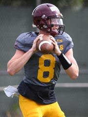 ASU quarterback Blake Barnett drops back to pass during Wednesday's practice.