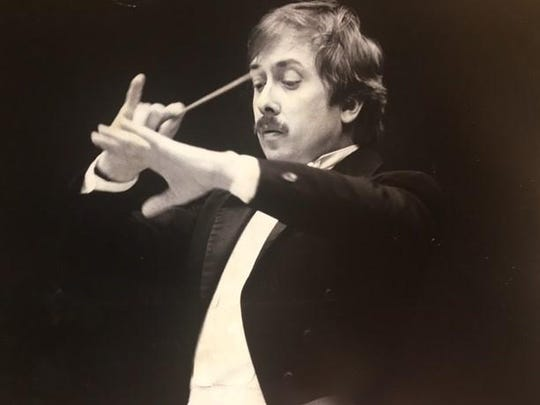 In this undated photo, a young Gordon Johnson shows off his baton skills at the helm of the Great Falls Symphony.