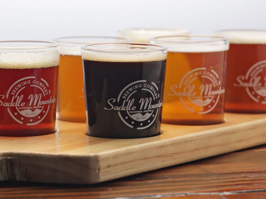 A flight of Taildragger craft beer, brewed on premise at Saddle Mountain Brewing Company in Goodyear.