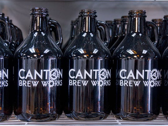Growlers wait for brew.