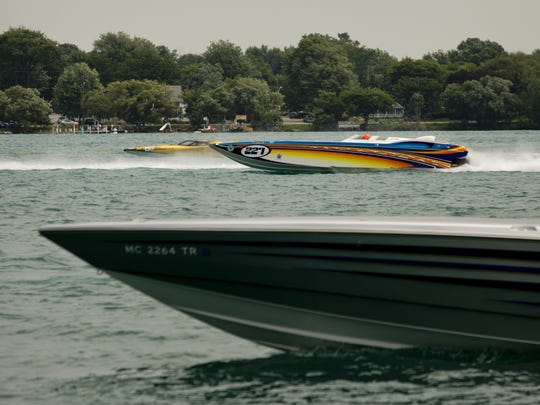 Boats run time trials during the St. Clair Riverfest in St. Clair.