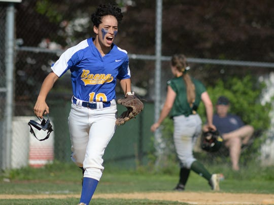 Buena's Aysiah Cintron reacts after making an inning
