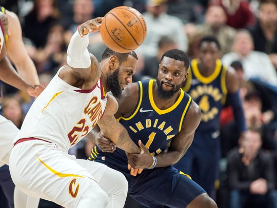 Indiana's Lance Stephenson guards Cleveland's LeBron James in a game earlier this season. The Pacers and Cavs meet in the first round of the NBA Playoffs starting Sunday afternoon.