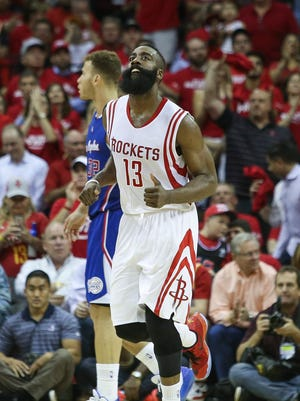 Houston Rockets guard James Harden (13) reacts after scoring a basket during the fourth quarter against the Los Angeles Clippers in game two of the second round of the NBA Playoffs at Toyota Center. The Rockets defeated the Clippers 115-109 to tie the series at 1-1.