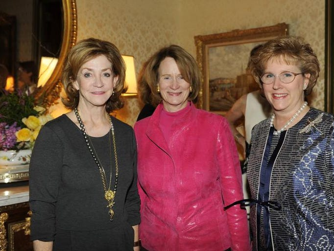 Karyn Frist, left, Kitty Murfree and Cathy Jackson at Swan Ball Unveiling held at the Jackson home.