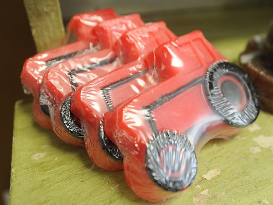 Tractors are among the soap shapes sold at Kreative