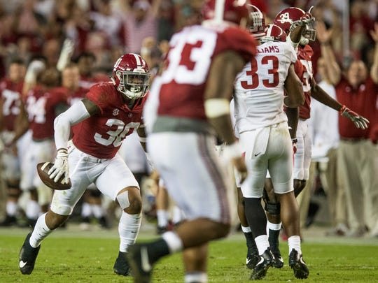 Alabama linebacker Mack Wilson (30) celebrates an interception against Arkansas in second half action at Bryant Denny Stadium in Tuscaloosa, Ala. on Saturday October 14, 2017. (Mickey Welsh / Montgomery Advertiser)