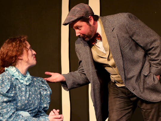 """Christa Karschnia, as Sonya, and Seth Allen, as Astrov, perform during a rehearsal for """"Uncle Vanya."""""""